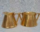 Reserved Gold Embossed Pickard China Cream and Sugar 1950's Collectible Kitchenware Decor