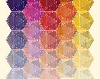Icosahedron Geometric  Art Print
