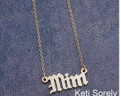 Handmade Gothic Initials or Name Necklace (Order Any Initials) - 10K, 14K or 18K Solid Gold, Sterling Silver, 14K Gold Filled