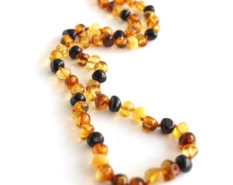 Baltic amber necklace. Multicolored amber beads