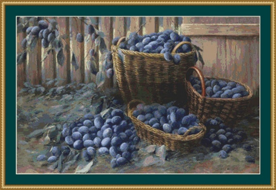 Plums Cross Stitch Pattern /Digital PDF Files /Instant downloadable