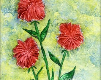 Red Bee Balm Abstract Painting, Whimsical Summer Monarda Garden Flowers Textured Watercolor