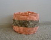 CLEARANCE - Peach and Tan Crochet Basket