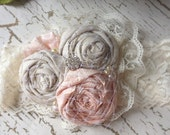 Vintage inspired headband, girls lace bow, peach pink and linen