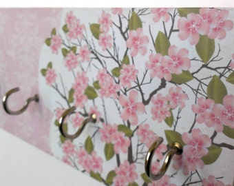 "Cherry Blossom jewelry hanger key rack jewelry organizer oriental floral decor pink blossoms pink and white ""pink cherry blossoms"""