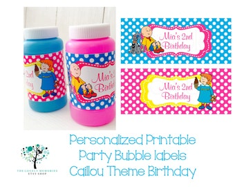 Personalized Printable Party Bubble Labels Caillou Theme Birthday