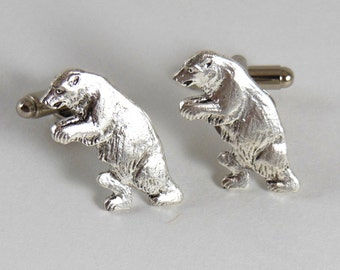 Grizzly Bear Cufflinks , Silver California Cuff Links
