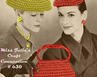 Almost FREE Vintage 1950s Two Elegant Hats & Purse 630 PDF Digital Crochet Pattern