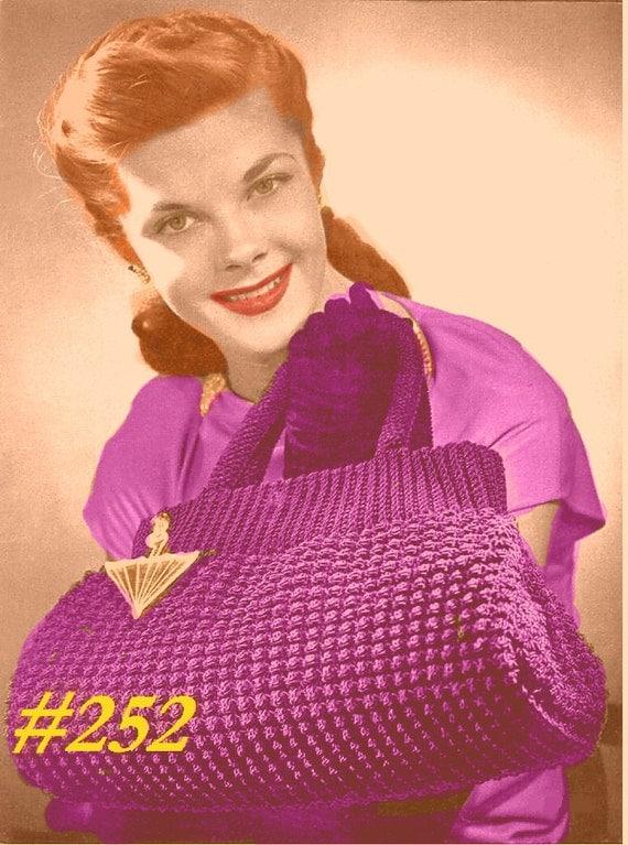 A BEST Vintage 1940s Elegant Tote Handbag 252  PDF Digital Crochet Pattern