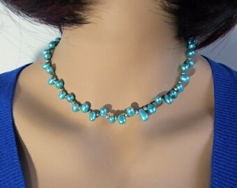Sky Blue Dancing Pearl Necklace with Silver Pyrite & Sterling Silver Clasp, Handmade