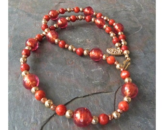 Red Gold Foil Venetian Glass Necklace with Apple Coral & Pyrite, Handmade