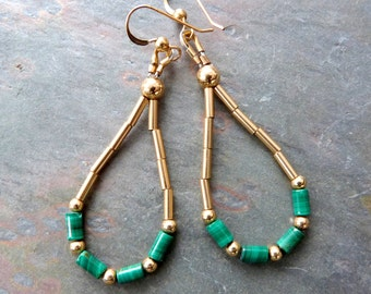 Malachite and Gold Looped Dangle Earrings, Handmade,  Natural Green Gemstone