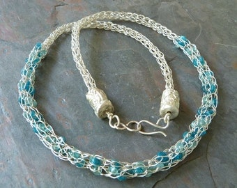 Caged Gemstone Necklace in Fine Silver Viking Knit Chain, Teal and Aqua Apatite, Handmade