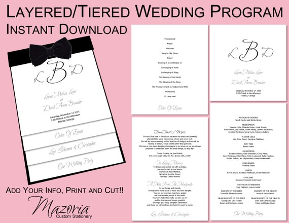 Layered Wedding Programs Templates Images Page Vertical - 5x7 wedding program template