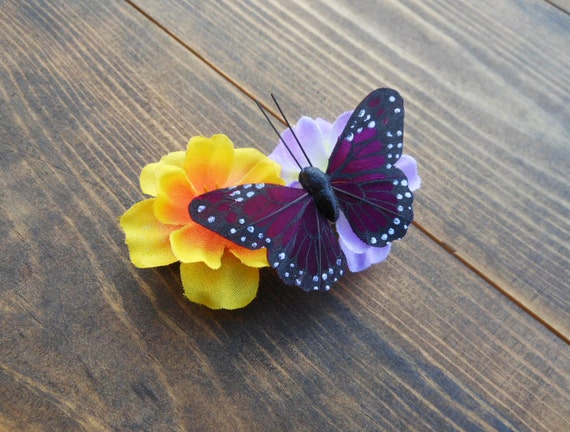 Butterfly Hair Barrette - Fabric Flower and Butterfly Hair Accessory - Purple and Gold Flowers - Butterfly Accessory