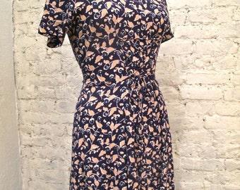 Grunge Dress - 80s/90s - Blue Floral Print Corset Style Dress