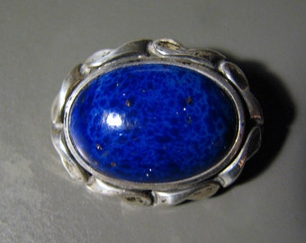 Vintage SWEDISH 835 Silver Brooch with Royal Blue Art Glass -- Gorgeous Color and Setting