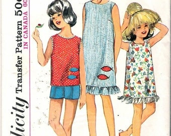 Vintage 1965 Simplicity 6035 Girl's Dress or Top, Shorts & Scarf Sewing Pattern Size 8