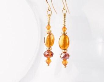 Amber Swarovski Crystal and Glass Dangle Earrings