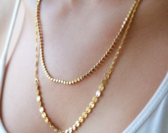 Double layer necklace - gold layered necklace - multi chain necklace - gold bridal necklace - wedding jewelry
