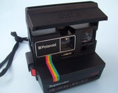 Polaroid Supercolor Land Camera Rainbow Strip 1980s Point and Shoot Black 600 Camera Photo Taking Pictures