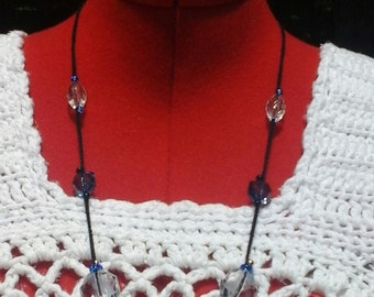 Crocheted Necklace with blue, clear  and black glass and acrylic beads