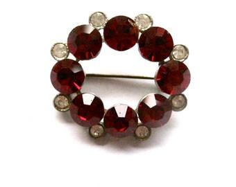 Broken - Vintage Red and Diamante Jewel Brooch