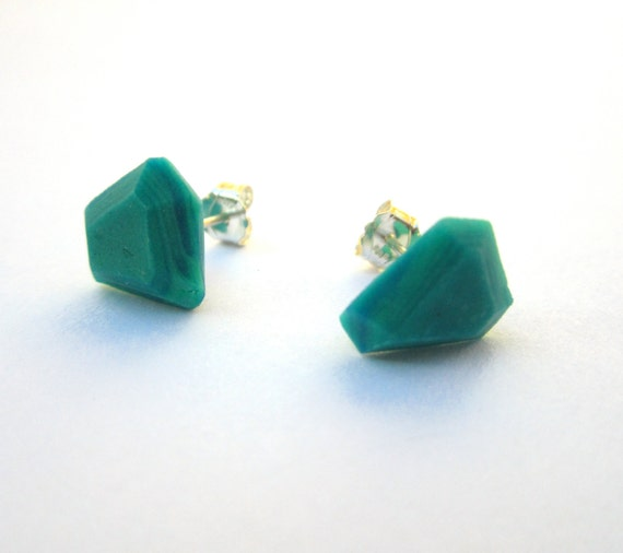 Teal Green Earrings, Modern Stud Earrings, Geometric Earrings, Colorful Post Earrings, Facet Earrings, Asymmetrical Jewelry, Silver Earrings