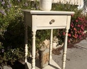 Vintage wood night stand, end table, foyer table, distressed with turned legs, antique glass knob and shelf.