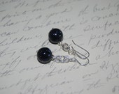 Wire Wrap Style Navy Blue Sparkle Stone Dangled Earrings.