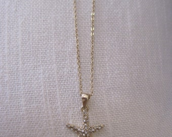 Starfish necklace - Small Gold Starfish Necklace - Gold Rhinestone Starfish Necklace - Beach Wedding