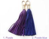 Leather Tassel, Purple long tassel, Large tassel