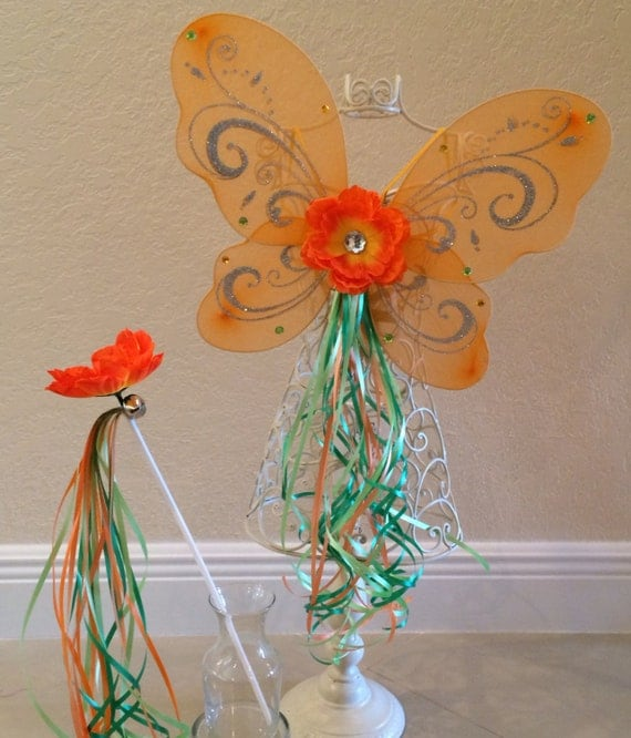 Items similar to Orange Fairy Wings, Fairy Costume ...
