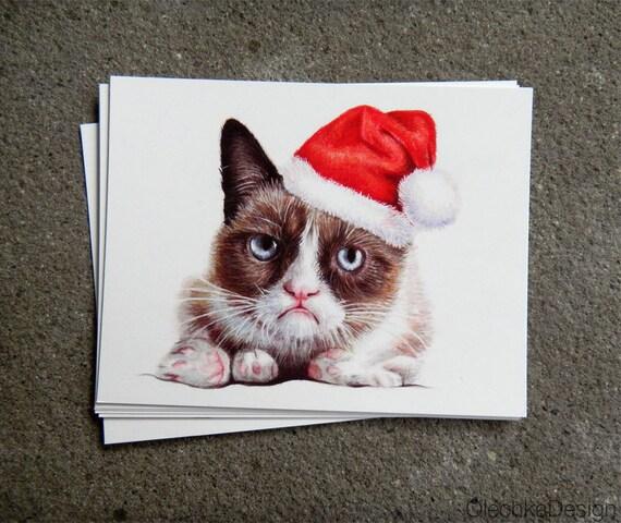Grumpy Cat Santa Postcard Christmas Holiday by OlechkaDesign