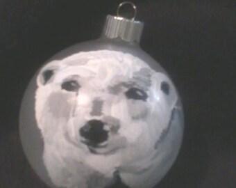 Polar Bear Christmas Ornament Glass