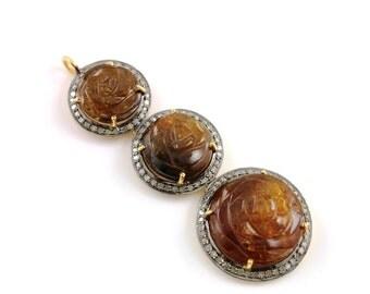 Pave Diamond Pendant,Pave Tourmaline Pendant, Diamond Tourmaline Charm, Pave Fancy Cut Component,  Gold Plated over Silver.  (TMLDIA-03)
