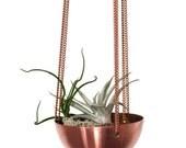 Hanging Planter/ Basket/ hand spun copper or brass bowl/ Modern Planter / Plant Hanger / Air Plant Hanger/ Minimalist Home Decor