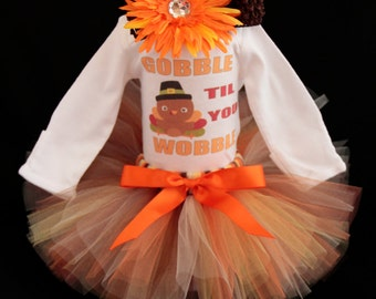 Baby's First Thanksgiving Outfit  -  Gobble til You Wobble Bodysuit - Baby Girls Outfit -  1st Thanksgiving Tutu Set - *TG1402
