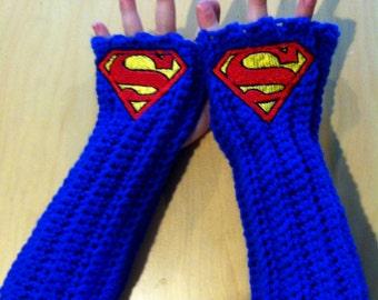 Kids SUPERMAN DC COMICS Arm warmers / Fingerless gloves / Wrist warmers handmade