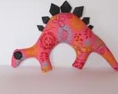 Stegosaurus Dinosaur Plush Toy - Bright Pink Floral