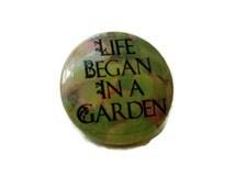 Garden of Eden Pinback Button, Garden of Eden Pin, Christian Button, Adam and Eve Magnet, Christian Gift, Whimsical Quote, Pin Back Button
