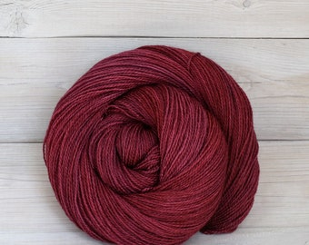 Starbright - Hand Dyed Bluefaced Leicester Silk Heavy Lace Light Fingering Yarn - Colorway: Cranberry