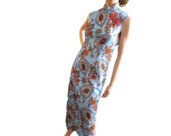 Vintage Dress, Vintage Maxi Dress, Retro 60s Dress, Blue Paisley, Boho Dress, Psychedelic Dress, Long Hippie Dress, Polyester, Hostess Gown