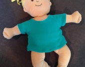 Reversible Basic Tee in White and Teal Knit for Baby Stella, Waldorf and 13, 14, 15, 16 Inch Dolls, Doll Clothes T-Shirt