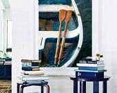 Large Nautical Boat Photography, Rowboat Dory Oars Rope Photo, Oversize Vertical Wall Art, Coastal Beach Artwork, Teal Navy Blue Beige White