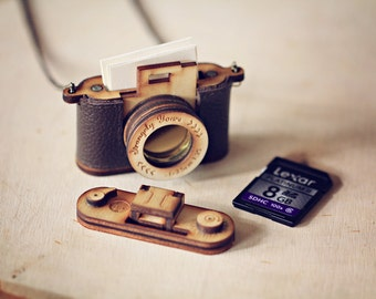 Wood and Leather Camera LOCKET version - Aztec Red, Brown personalised Christmas gift