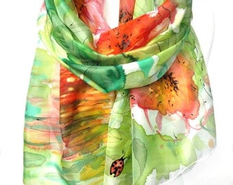 Silk Scarf. Ladybug Scarf. Hand Painted Scarf. Woman Birthday Gift. Green Red Scarf. Genuine Art on Silk Floral Shawl. 18x71in MADE to ORDER
