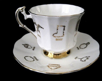 Vintage Cup of Fortune #1 by Red Rose Tea Co.(1964) Cup and Saucer made by Taylor and Kent, English Bone China