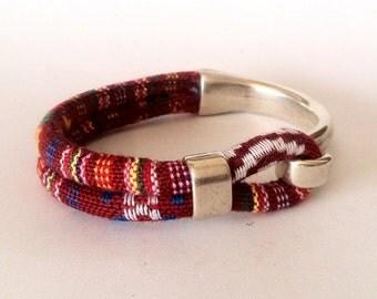 fabric bracelet, Boho bracelet, bracelet hook clasp, bracelet for men, bracelet for women, Ibiza style, ethnic bracelet, vegan bracelet