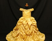 Child Beauty and  the Beast  Belle Cosplay Costume Gown Dress